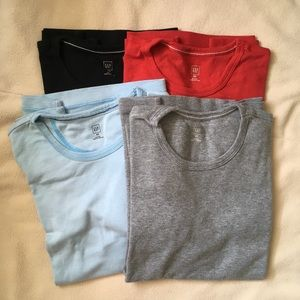 4x GAP Long Sleeve Crew Tee Red Gray Blue Black